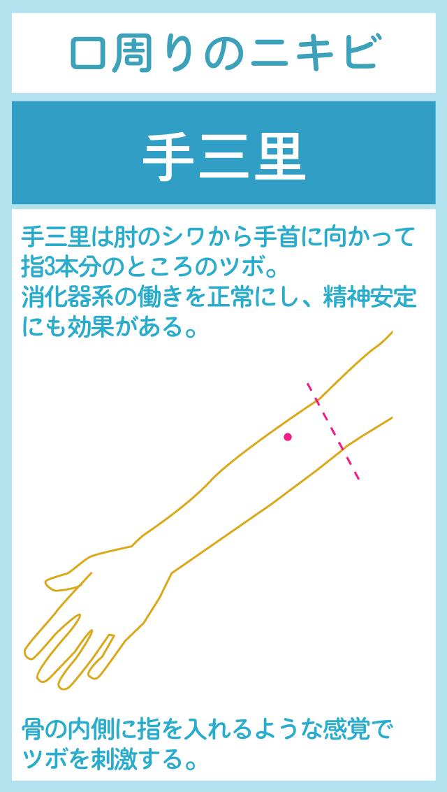 消化器系の整腸機能を高める手三里のツボ