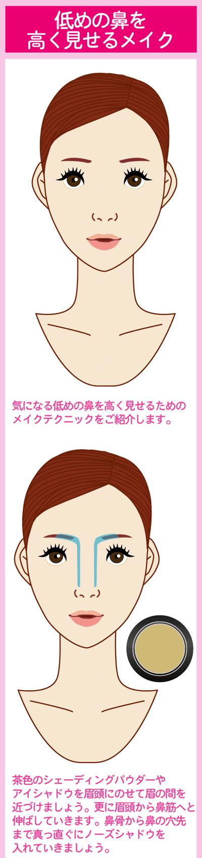 低めの鼻を高く見せるテクニック1