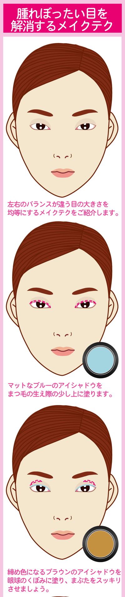 腫れぼったい目を解消するメイクテクでお悩み解消1