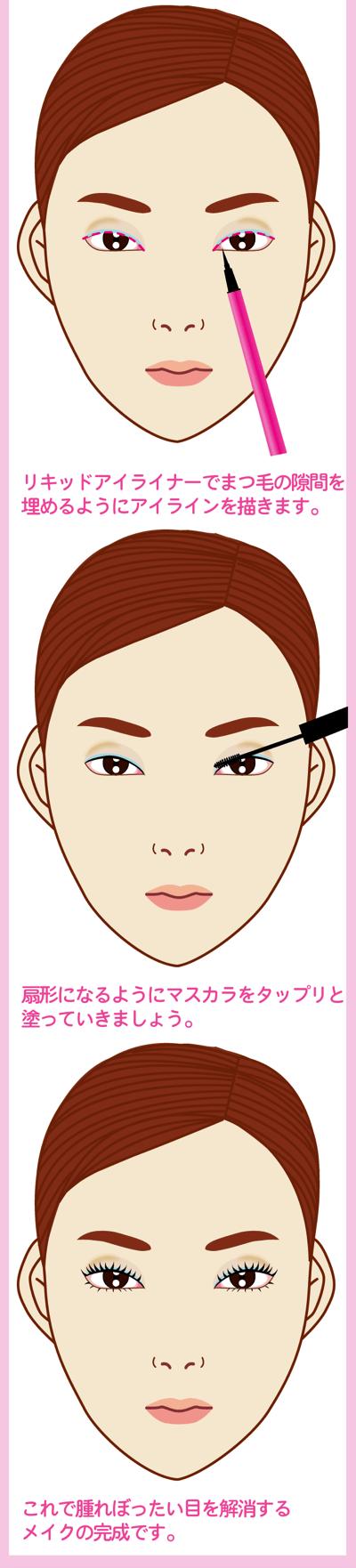 腫れぼったい目を解消するメイクテクでお悩み解消2