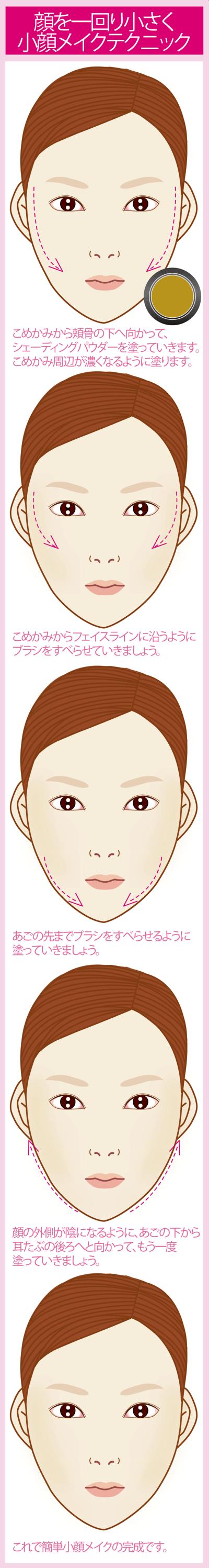 顔を一回り小さく見せる!小顔メイクテクニック